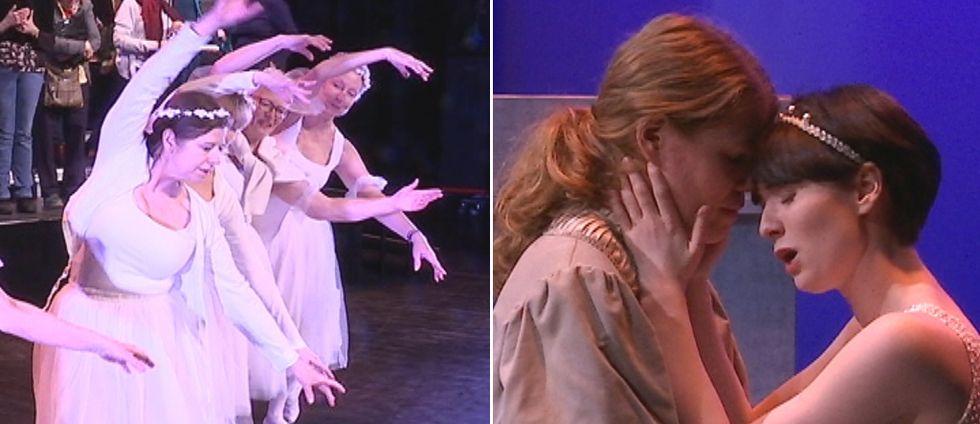 Unga sångare och äldre dansare i operan Romeo och Julia.