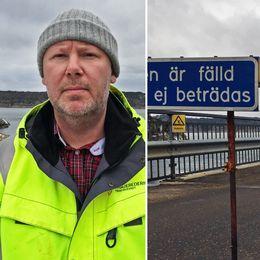Porträttbild Mattias Bergsten. Påfartsramp till bilfärja som leder rakt ut i vattnet