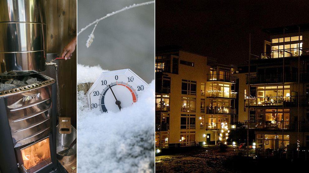 Tredelad bild: Bastu, en termometer i snö och lägenheter utifrån
