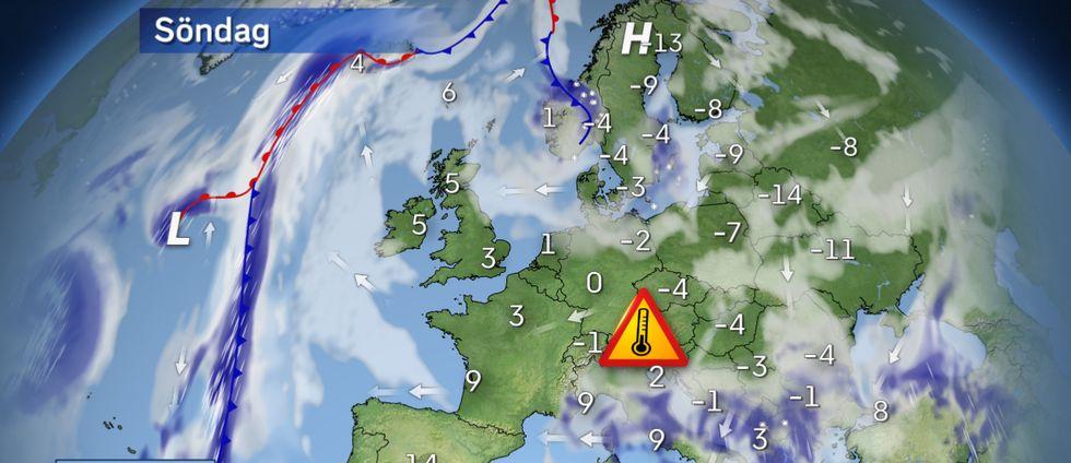 Europaväder: Ett högtryck etableras sakta över nordöstra Europa och håller Atlantlågtrycken stången. Det kommer bidra till att den Sibiriska vinterkylan kan sprida sig västerut. Vid Medelhavet är det ostadigt med blåst, regn och snö på många håll. På Iberiska halvön är det lugnare med smygande vårvärme.