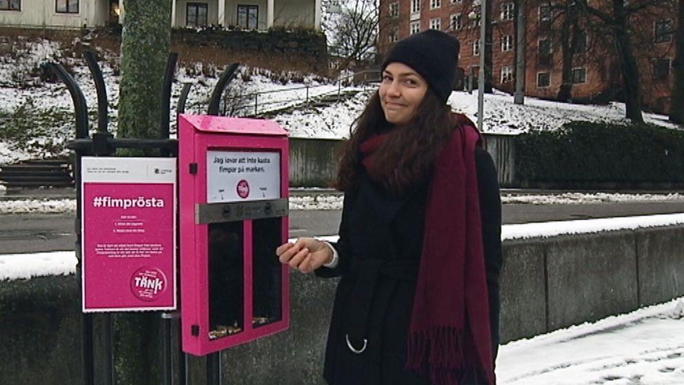 Vår reporter Josefin Marjomaa visar hur fimpomaterna i Göteborg fungerar.