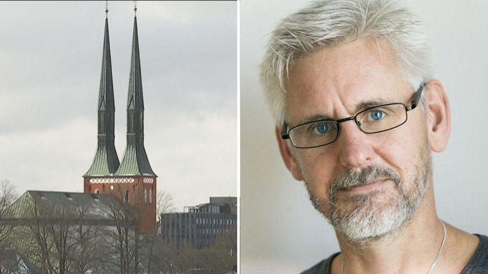 domkyrkotornen och Jonas Svensson, professor i religionsvetenskap