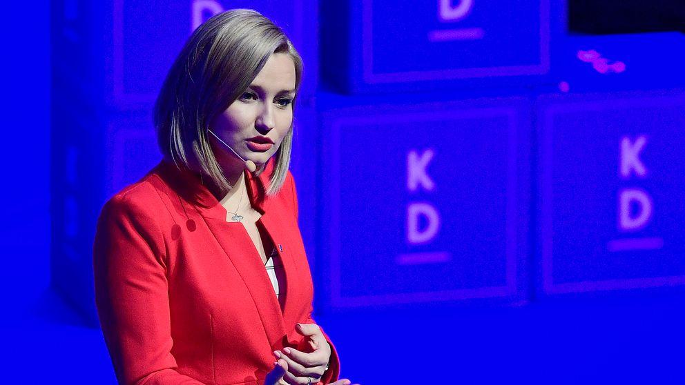 Partiordförande Ebba Busch Thor talar vid Kristdemokraternas kommun- och landstingsdagar i Jönköping.