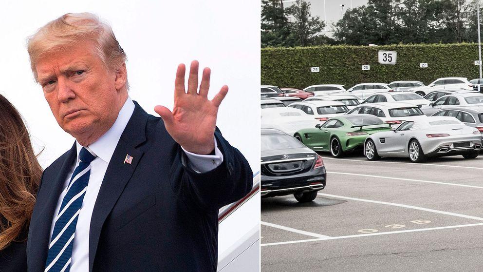 Donald Trump och bilar vid en Mercedes-Benz-fabrik i Tyskland