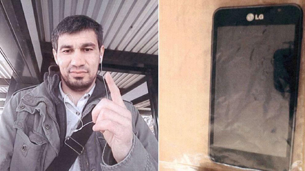 En delad bild på den terrormisstänkte Rakhmat Akilov och en telefon.