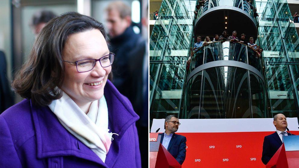 Vänster: SPD:s blivande partiledare Andrea Nahles vid en presskonferens under söndagsmorgonen. Höger: SPD-kassören Dietmar Nietan och t.f. partiledaren Olaf Scholz meddelar röstresultatet.