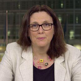 USA:s president Donald Trump och Cecilia Malmström, Sveriges EU-kommissionär med ansvar för handel.