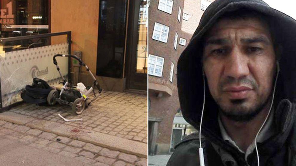 Barnvagn som blev påkörd på Drottninggatan och Barnvagn terrormisstänkte Rakhmat Akilov.