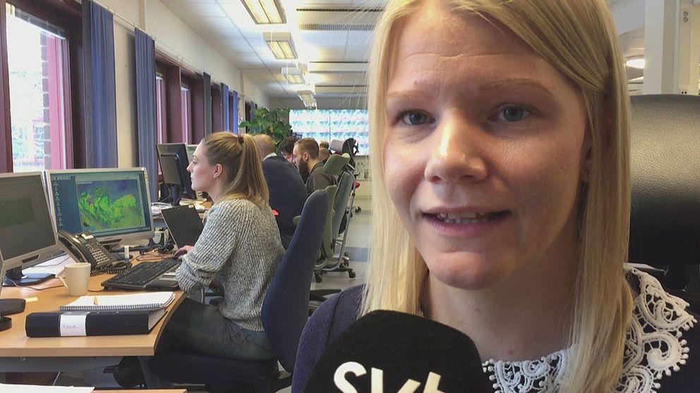 Sandra Andersson, meteorolog på SMHI i Norrköping.