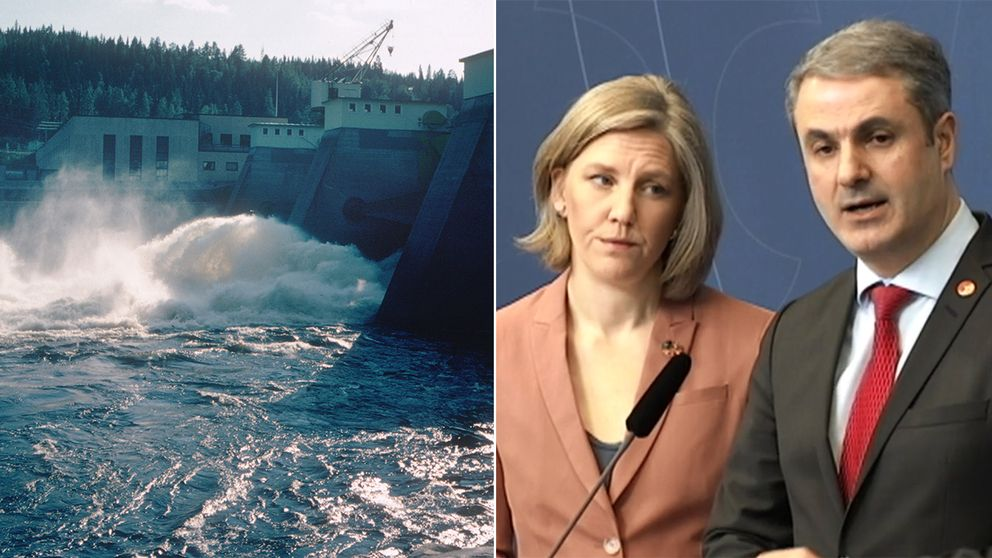 Ett vattenkraftverk och miljöminister Karolina Skog (MP) och energiminister Ibrahim Baylan (S).