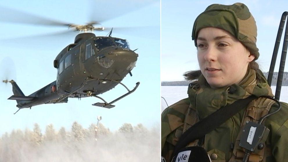 en militärhelikopter, och en kvinna i militärkläder som intervjuas, vintertid