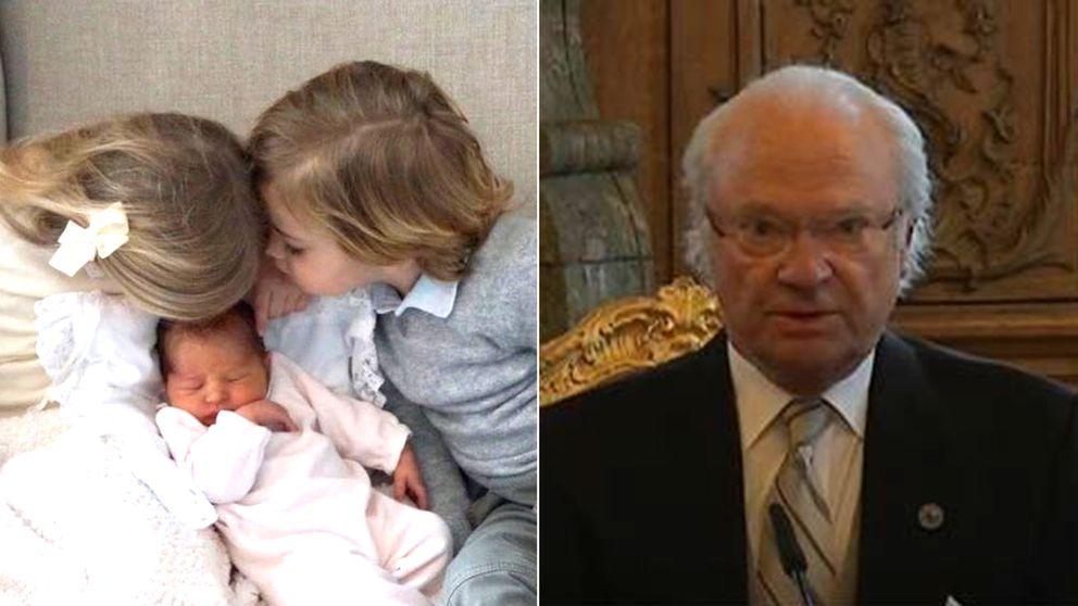 Sveriges nya prinsessa ska heta Adrienne Josephine Alice, tillkännagav kungen.