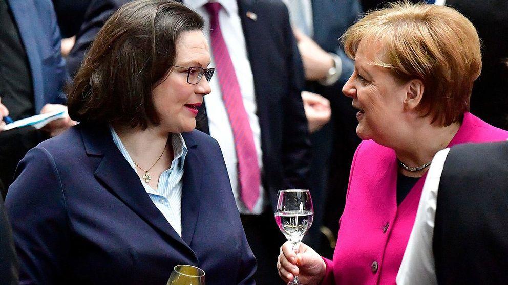 Den socialdemokratiska toppolitikern Andrea Nahles och Angela Merkel lär ha en god relation.