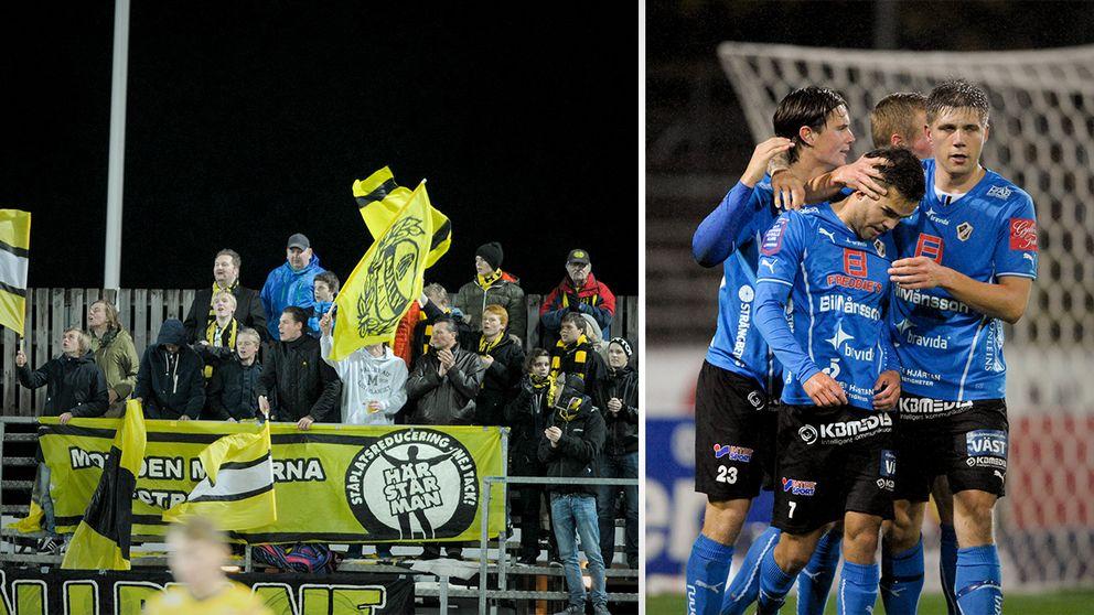 Halmstads spelare jublar efter straffmålet i matchens slutskede den 21 oktober 2013. Resultatet uppges nu vara förutbestämt sedan spelare i Mjällby pekas ut som matchfixare.