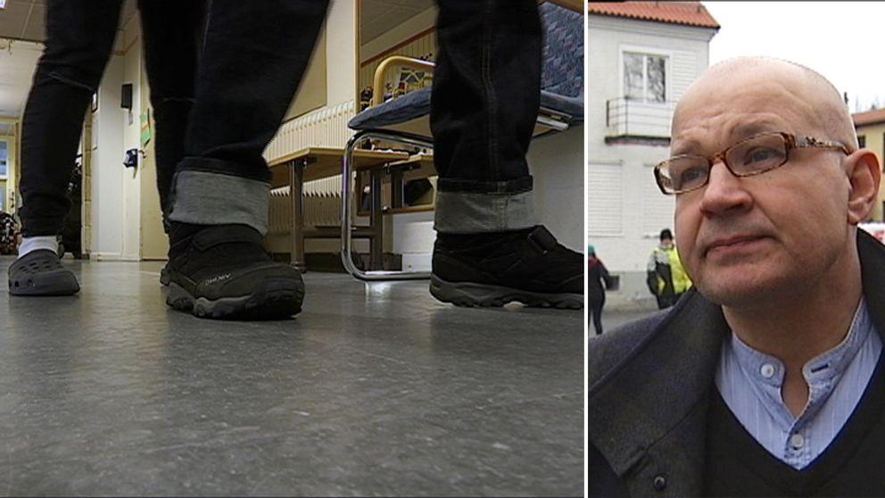 Fötter och ben i en korridor på grundsärskolan i Kramfors.