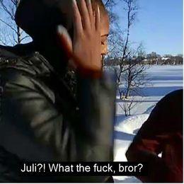 Ett kollage på en person som pratar om snön och när hon tror att våren kommer.