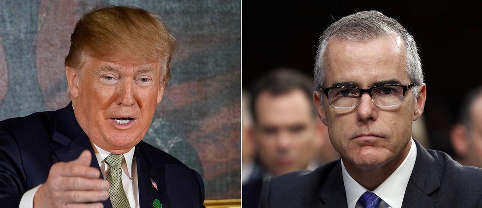 Trump har tidigare rasat över hur McCabe försvarat förre FBI-chefen James Comey, som fick sparken i maj i fjol.
