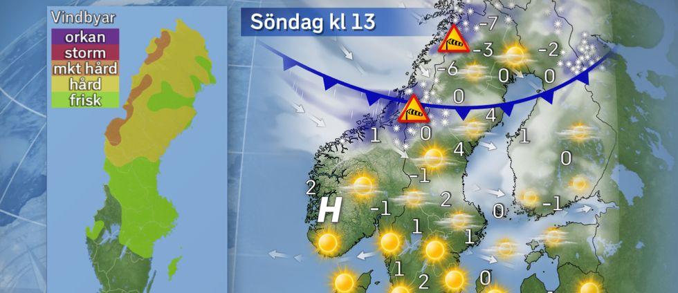Söndag: Föhneffekt vid Norrlandskusten På söndag fortsätter det hårda vädret i fjällen med snöbyar och kraftiga vindar. Mildluft slår igenom i norr, speciellt vid södra och mellersta Norrlandskusten där så kallad föhneffekt bidrar till att ge dryga 5 grader varmt. I Sydsverige är snöbyarna nu borta och nu råder mest klart väder. Med vårsolens värmande strålar blir det även där lite på plussidan.