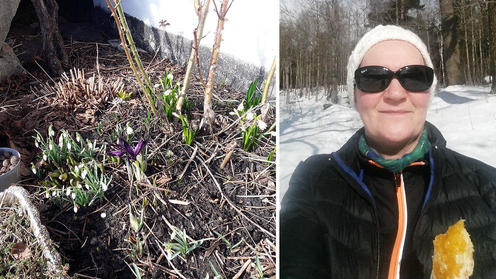 Till vänster: I Sävedalen, utanför Göteborg, njuter Elisabeth Nyberg av snödroppar, klosterliljor och snöiris. Till höger: Alice Johansson tar en apelsinpaus i solen på Lidingö.