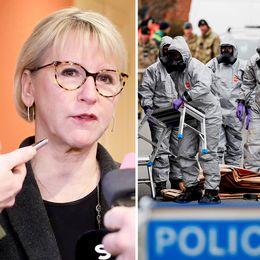 Sveriges utrikesminister Margot Wallström tillbakavisar uppgifterna, från ryska UD:s Maria Zacharova, om att nervgiftet som användes vid attacken i Salisbury kan ha kommit från Sverige