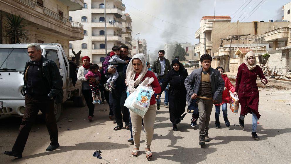 Civila invånare i Afrin. Turkiska styrkor och deras allierade har tagit kontroll över stadens centrala delar.