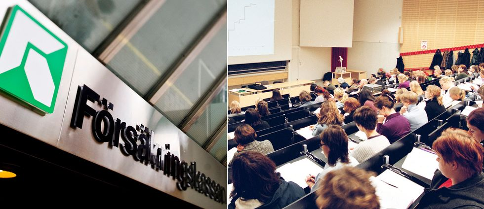 Tvådelad bild: Försäkringskassan och en genrebild från en föreläsning