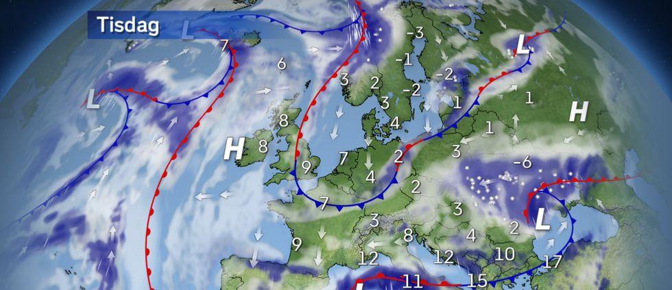 Tisdag: Ostadigt med flera regn- och snöväder mellan kylan i norr och vårvärmen i sydost.