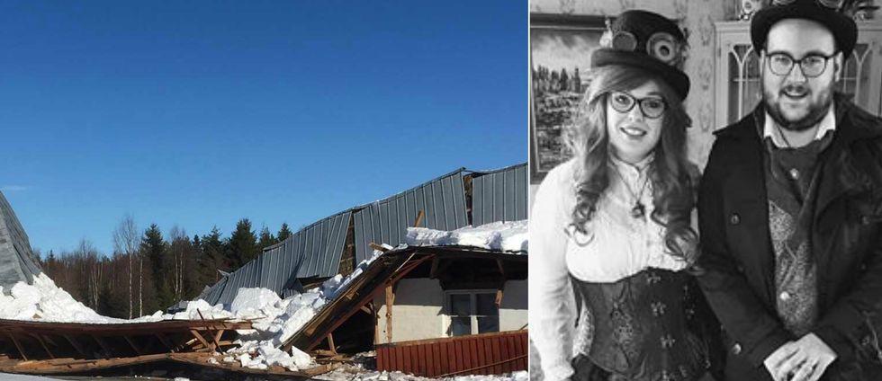 byggnad med nedrasat tak, och bild på ett par i steampunk-kostym