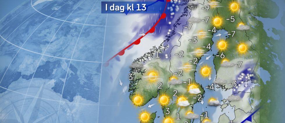 I dag: Solig inledning. I den kalla och delvis hårda nordvinden över hav i öster bildas moln, och det kan kanske bli någon snöby också på Gotland och möjligen även i Uppland. I övrigt hel hel del sol under dagen, och några få plusgrader i söder och några minusgrader i norr. Molnen i fjällen tätnar sedan västerifrån under dagens lopp.