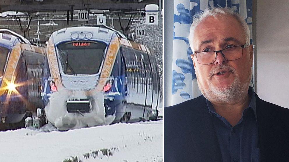 isigt, snöigt tåg, porträtt på en man