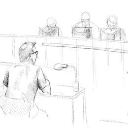 Teckning av Peter Madsen i rättssalen