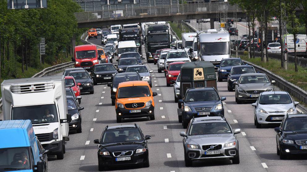 Tungt trafikerad väg.