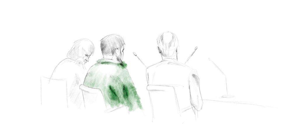 En tecknad bild på Rakhmat Akilov i grön tröja.