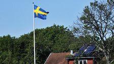 Sjötomt. Röd stuga, svensk flagga.