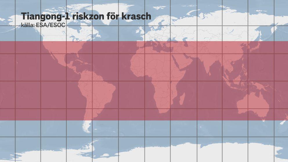 Karta: Här finns en risk att delar från rymdstationen Tiangong-1 slår ner.