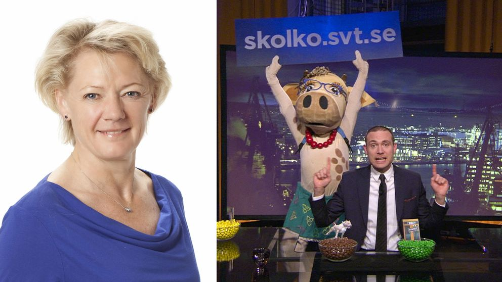 Ulla Hamilton och en scen ur programmet Svenska nyheter