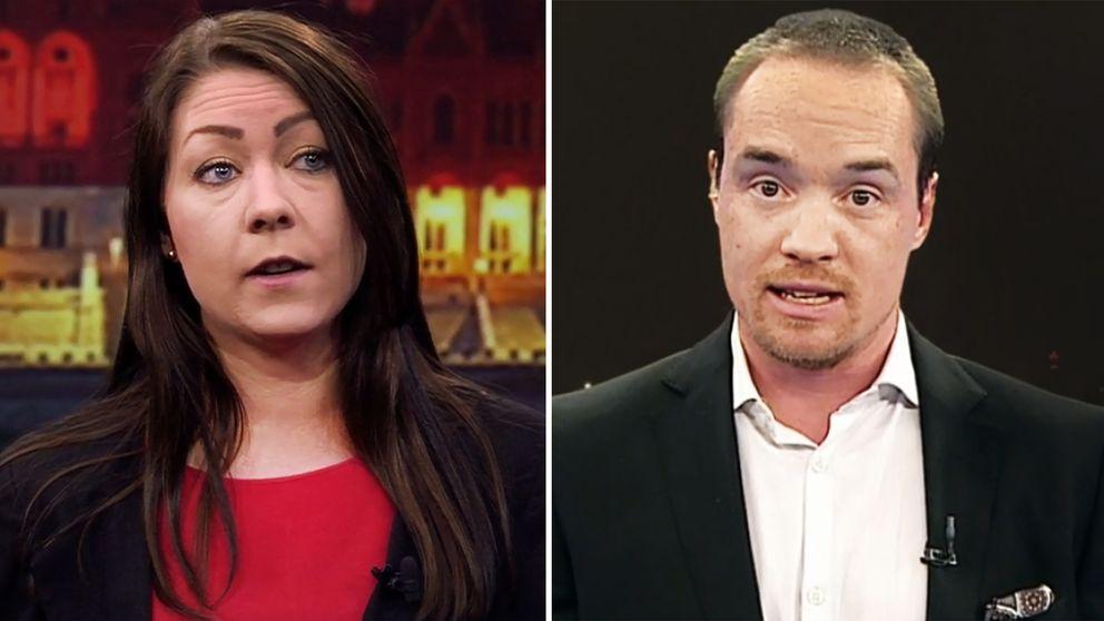 Miljöpartiets Maria Ferm och Sverigedemokraternas Kent Ekeroth i debatt om Ungern i SVT:s Aktuellt.