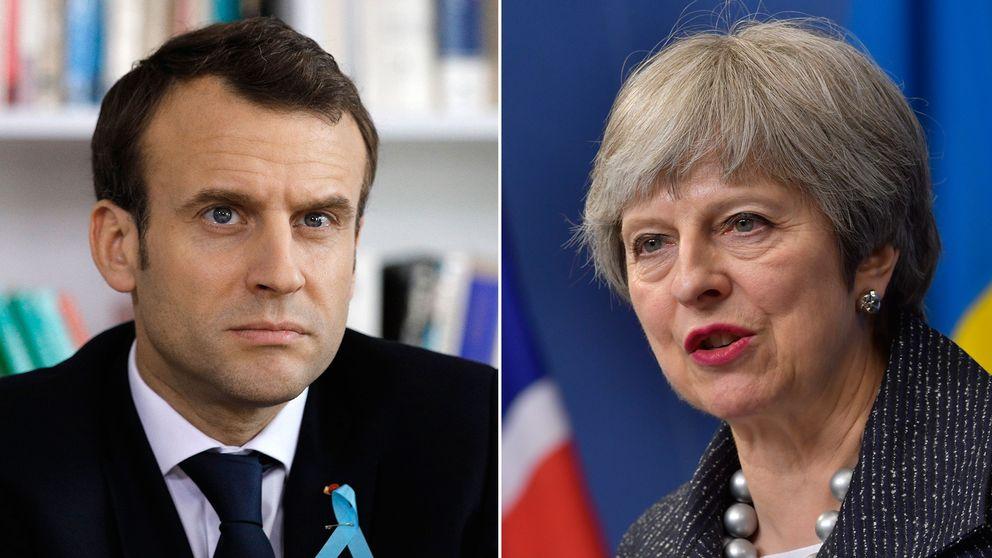 Frankrikes president Emmanuel Macron och Storbritanniens premiärminister Theresa May.