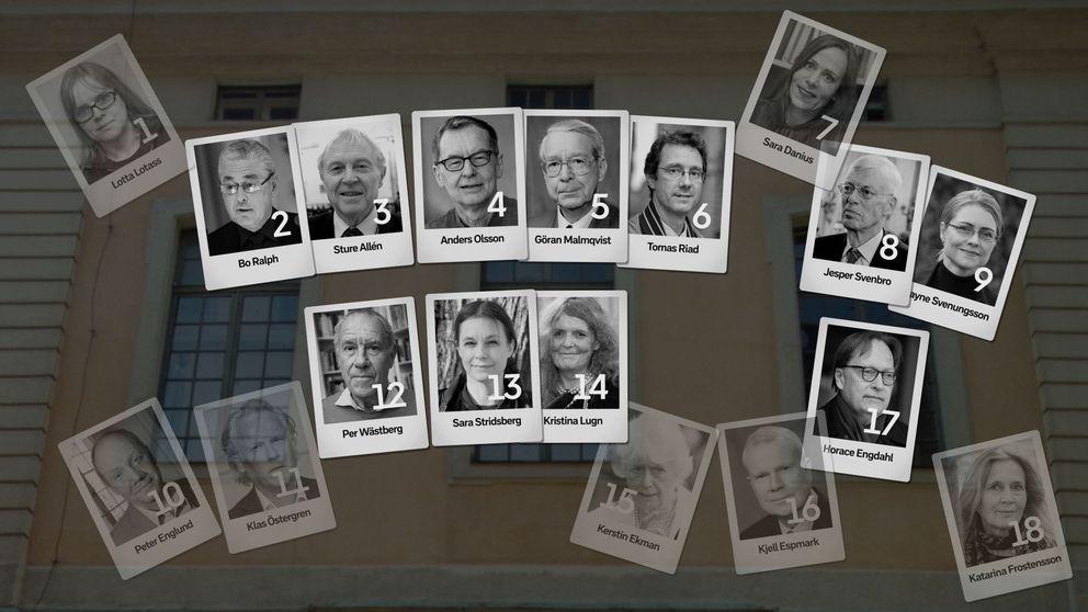 Bilder på den Svenska Akademiens arton medlemmar.