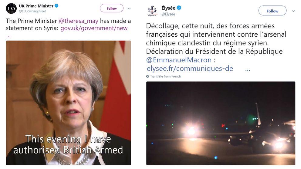 10 Downing Street och Elyseepalatset meddelade på Twitter att man nu genomför ett militärt anfall i Syrien.