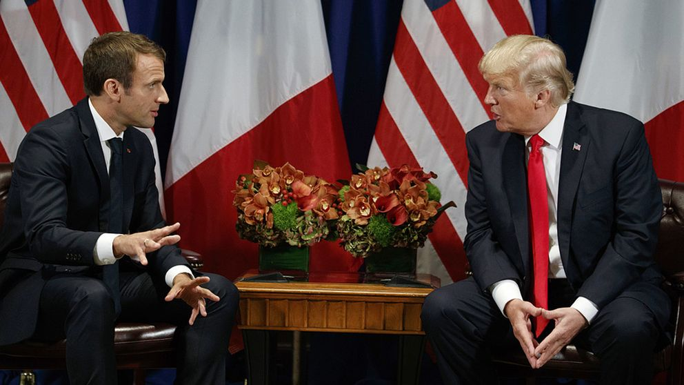Frankrikes president Macron samtalar med president Trump vid ett möte i september 2017.