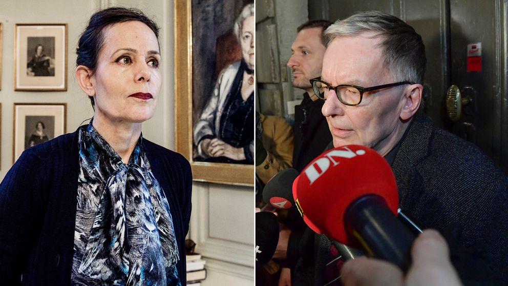 Delad bild: Först en på Sara Danius, tidigare ständiga sekreteraren för Svenska Akademien, samt en bild på Akademiens direktör Anders Olsson.