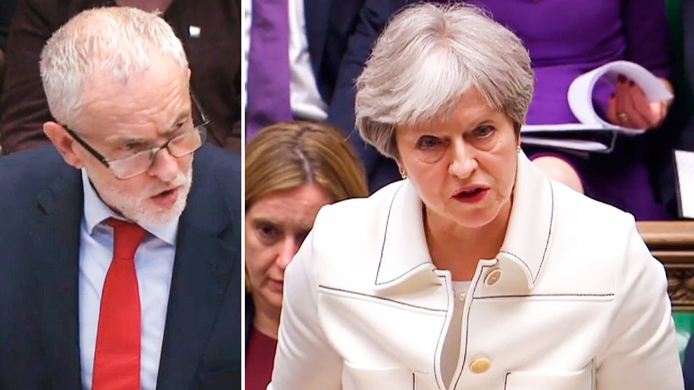 Labourledaren Jeremy Corbyn ifrågasatte premiärminister Theresa Mays beslut att inte konsultera parlamentet före den militära insatsen i Syrien.