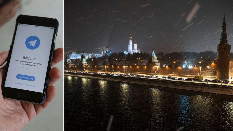 Till vänster: bild på appen Telegram. Till Höger: Vy över Kreml i Moskva.