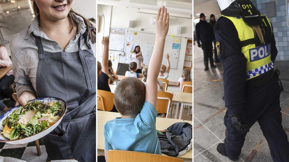 En person som jobbar i restaurang, ett klassrum och en polis.