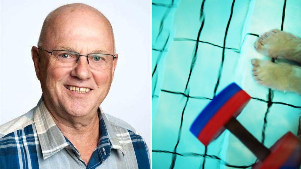 Några som simmar i en simbassäng. Johnny Jakobsson är hjärtsjuk och måste simma för att må bra.