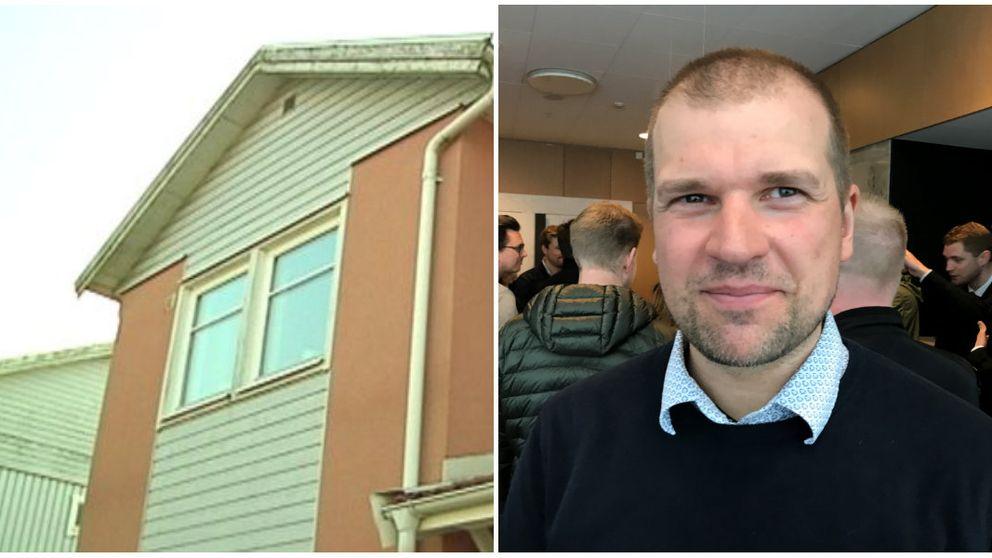 ett hus och en man