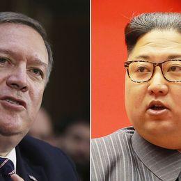 Kime Pompeo till vänster och Kim Jong-Un till höger.