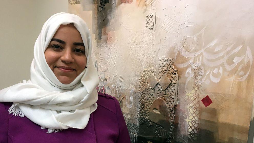 Iman Al-Jishi använder mycket text med arabiska bokstäver i sin konst.