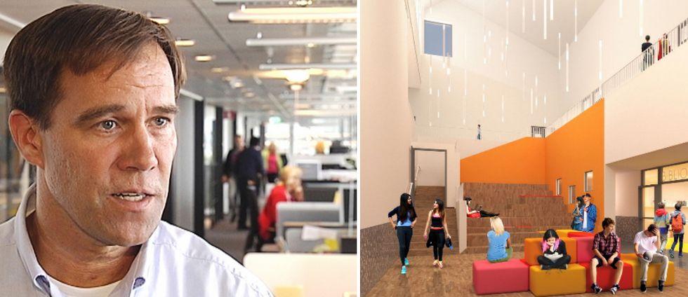 En bild på Martin Wannholt, ordförande i Demokraterna, och den framtida Kvibergsskolan